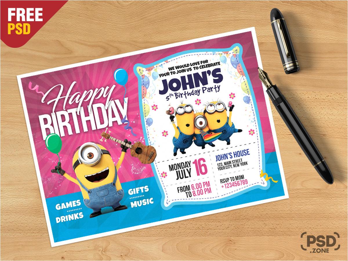 birthday invitation card template psd
