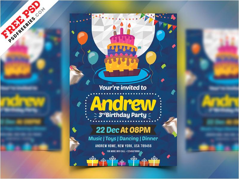 4618190 birthday party invitation card psd