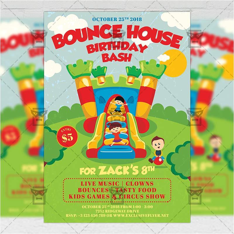 kids birthday bash invitation card a5 psd template