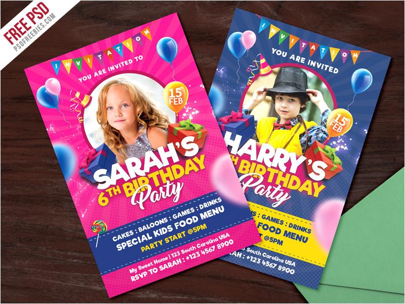 3960618 kids birthday party invitation card psd