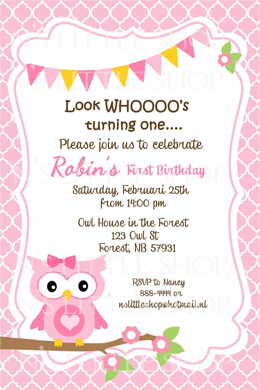 pink owl birthday invitation card