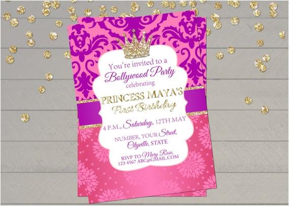 bollywood invitation indian princess