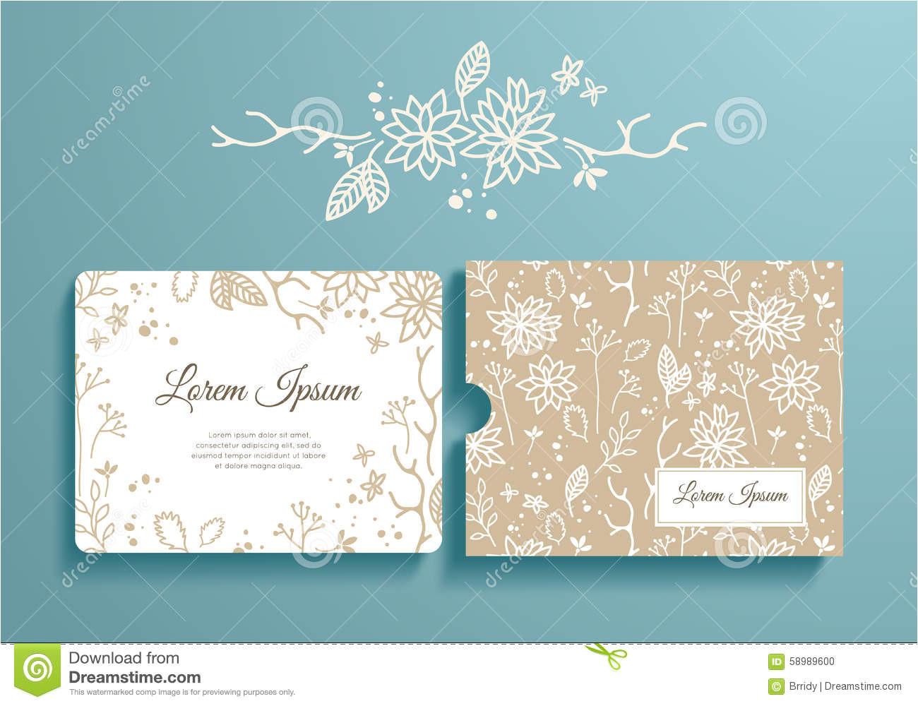 stock illustration floral set romantic invitation envelope template card wedding marriage bridal birthday valentine s day image58989600