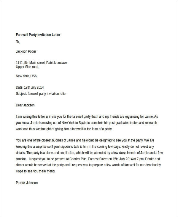 formal party invitation letter