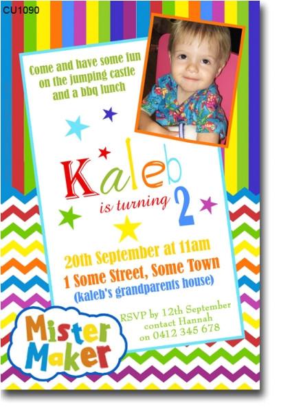 cu1090 mister maker birthday invitation