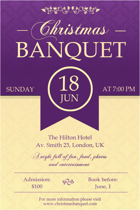banquet hall party invitation poster template design