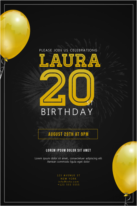 birthday party invitation flyer template design
