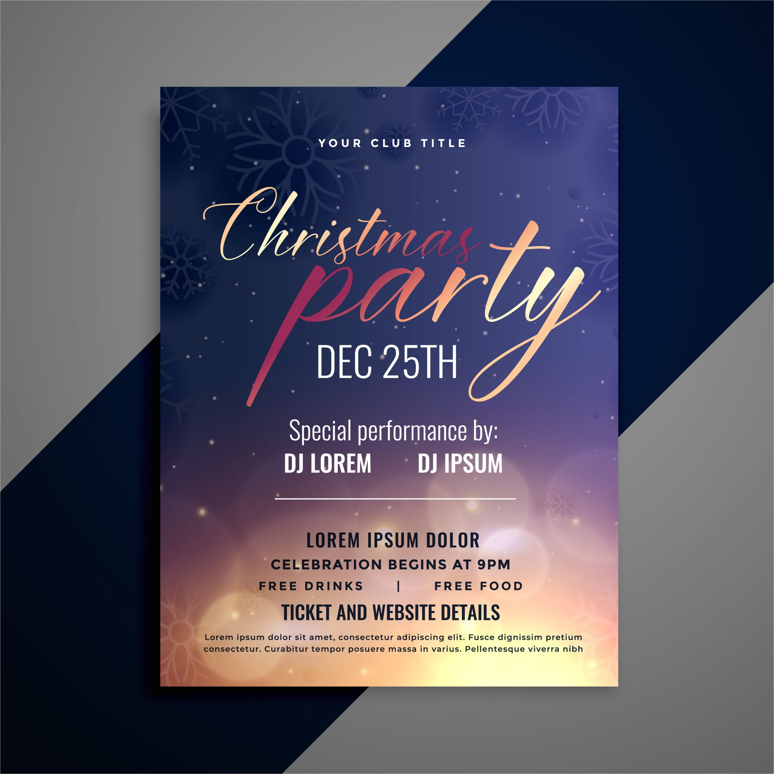 271228 christmas party invitation flyer template design