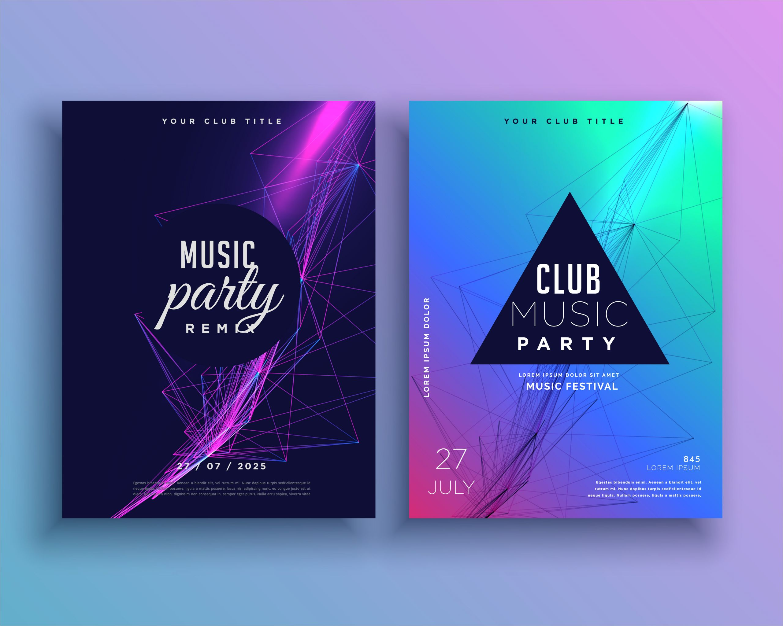 196284 music party invitation poster template set