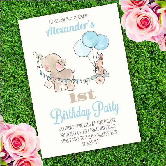 elephant birthday party invitation template edit with adobe reader