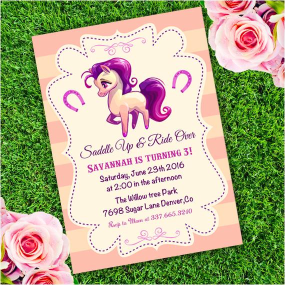 horse western birthday girl invitation template