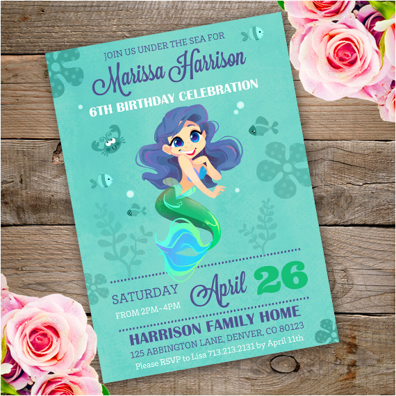 mermaid birthday party invitation template