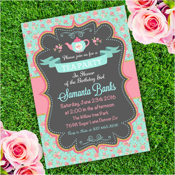tea party girl birthday invitation template edit with adobe reader