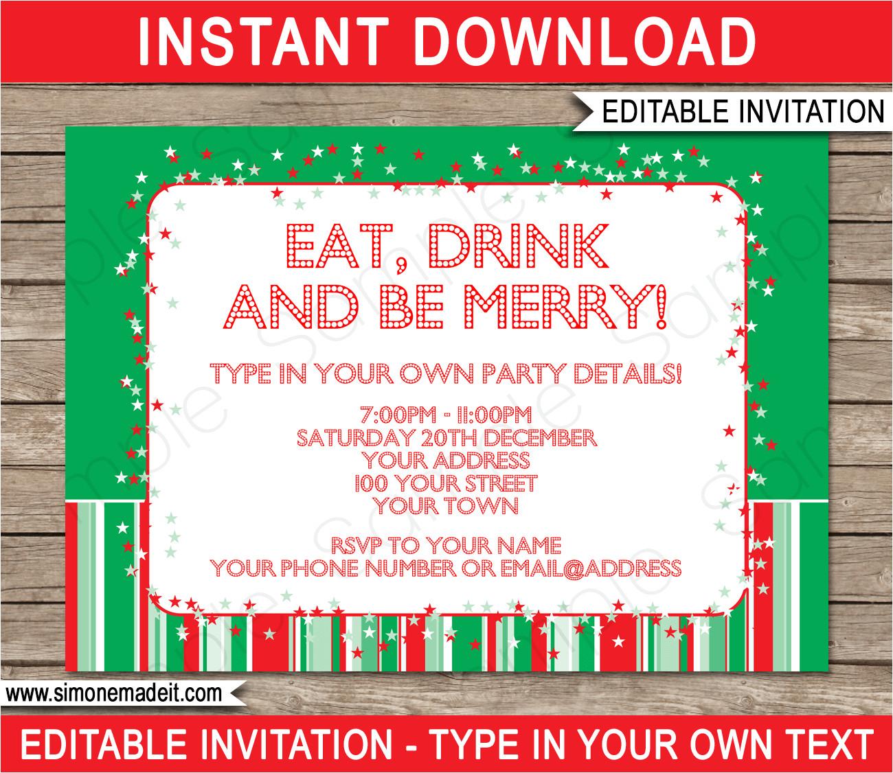 printable christmas party invitations 2