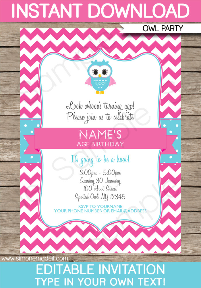 printable owl party invitations pink