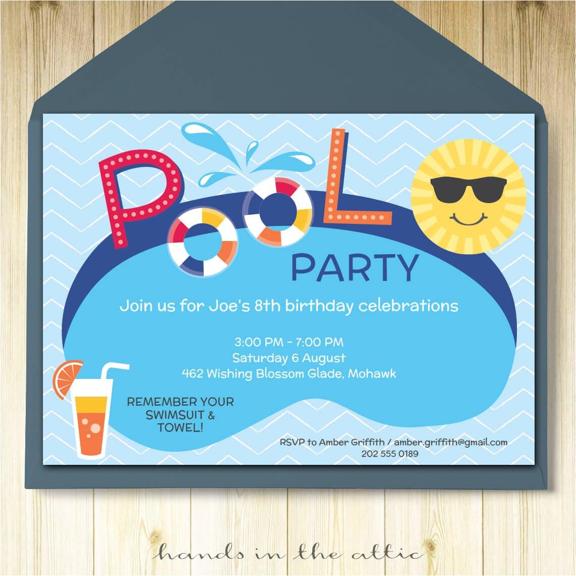 pool party invitation card editable