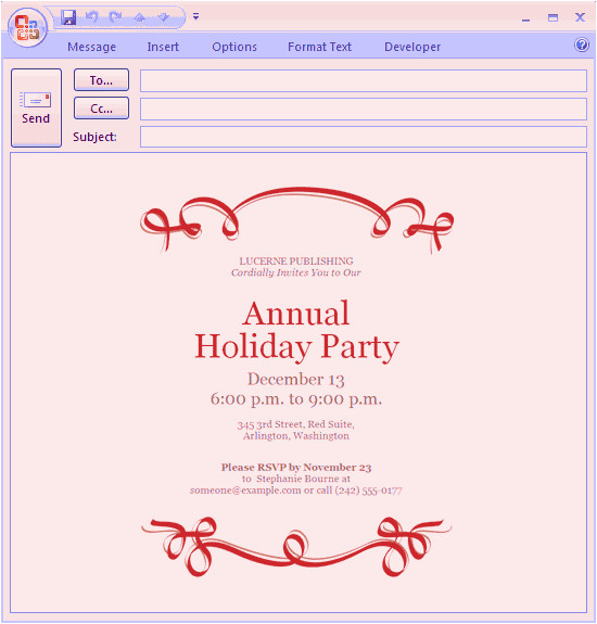 email message holiday party invitation red ribbon design 306