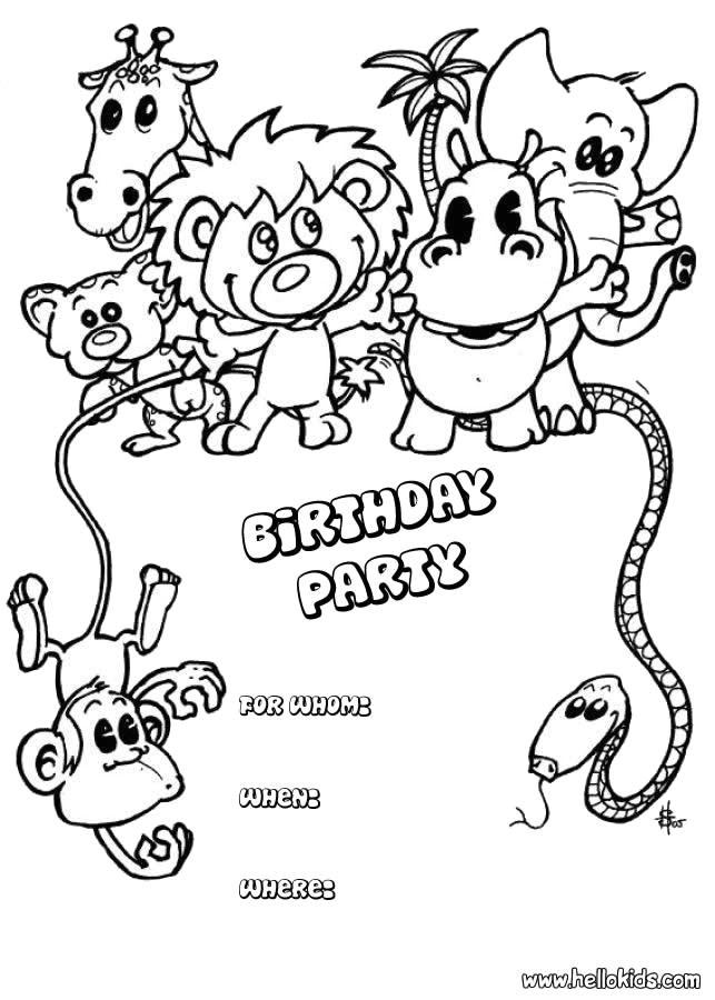 animals birthday party invitation