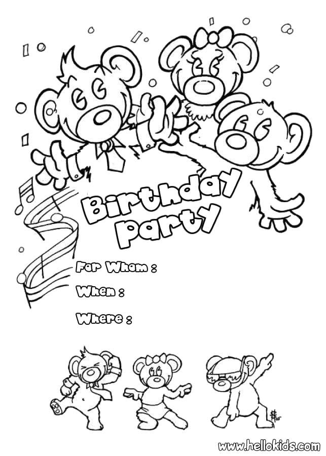 bears birthday party invitation