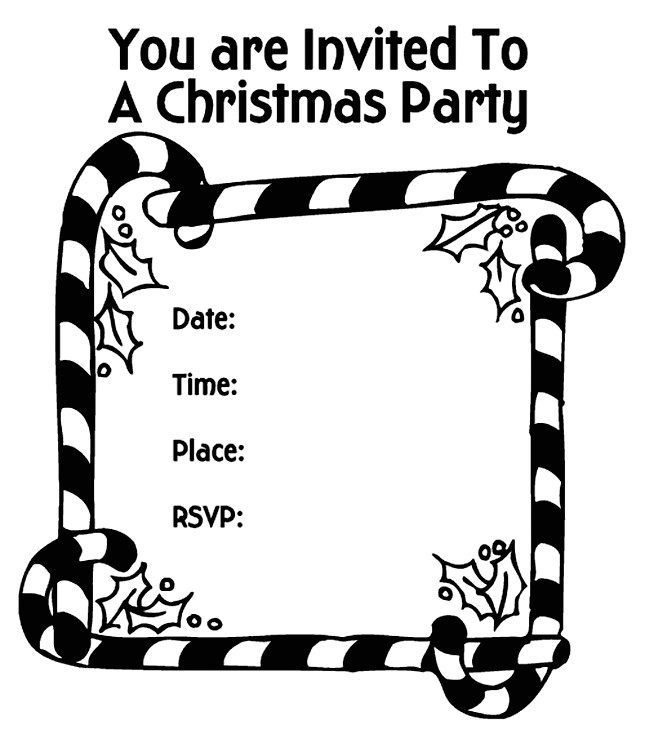 christmas party invitation candy canes coloring page