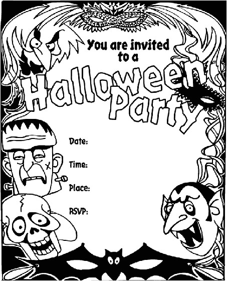 halloween invitation coloring page