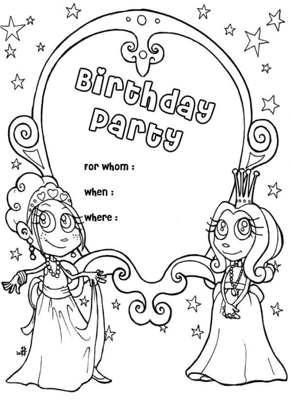happy birthday party invitation coloring page