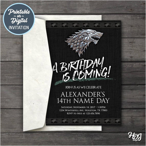game of thrones digital birthday party