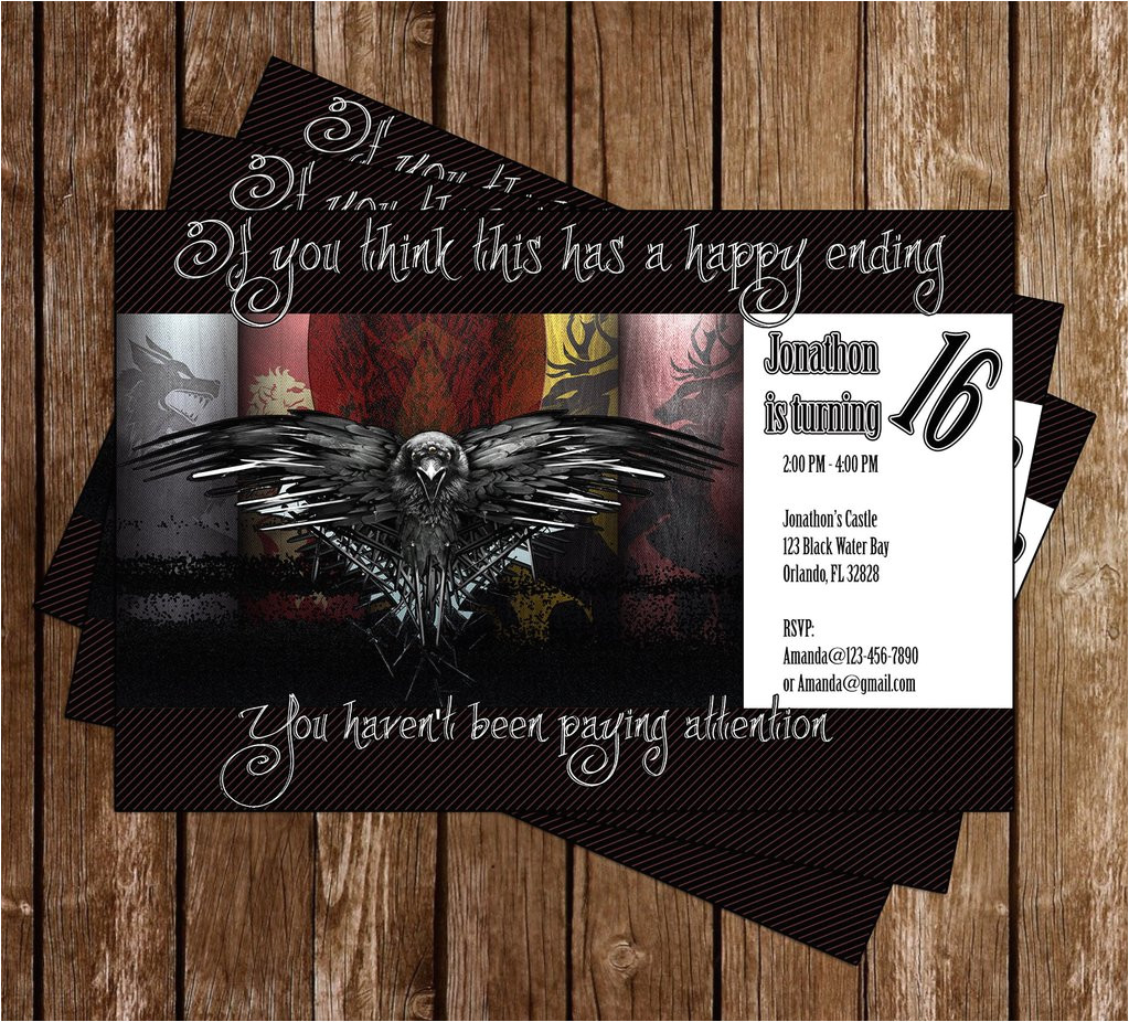 game of thrones show birthday party invitation memevitation