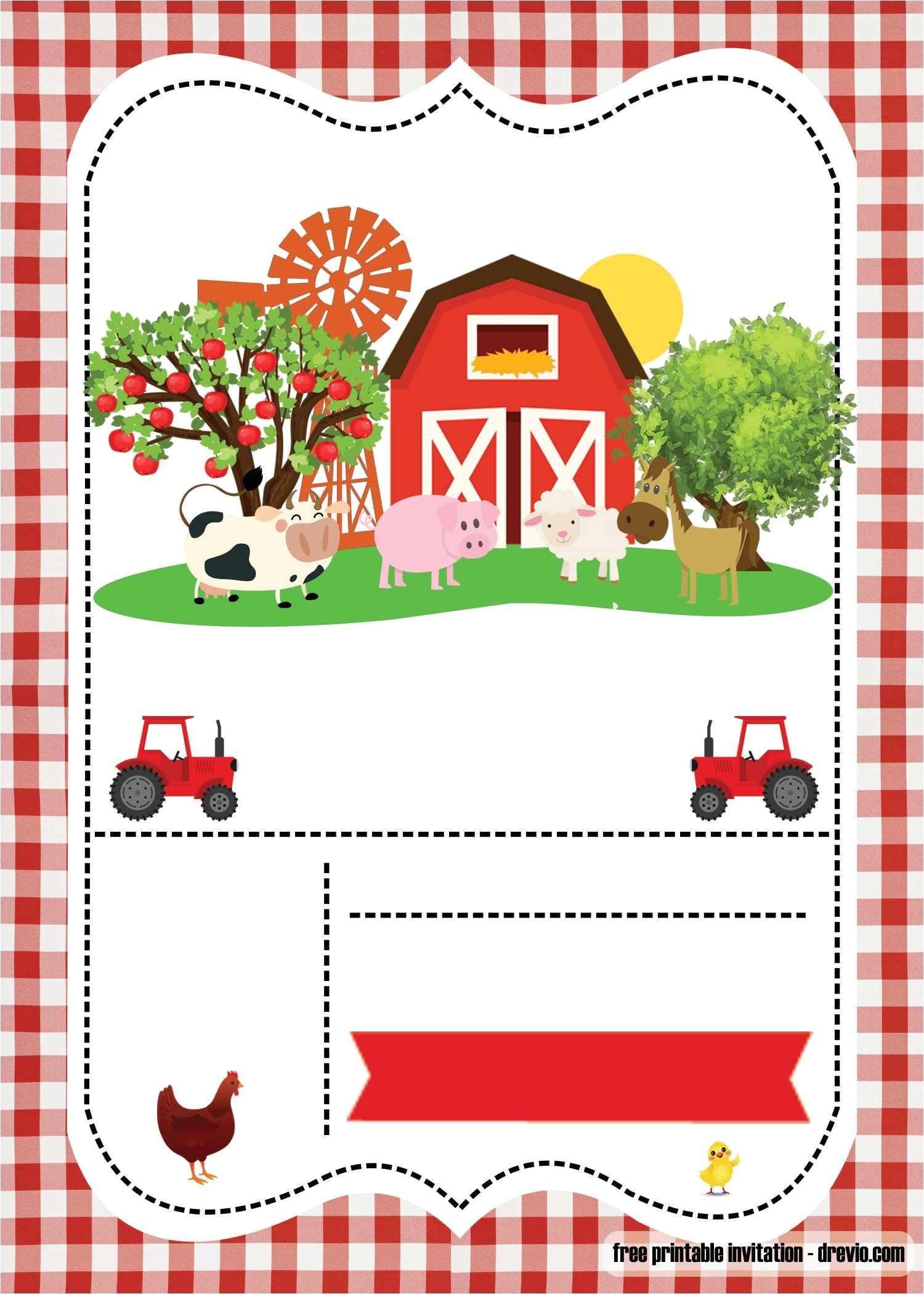 free farm party invitation template printable