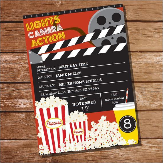 movie party invitation movie ticket