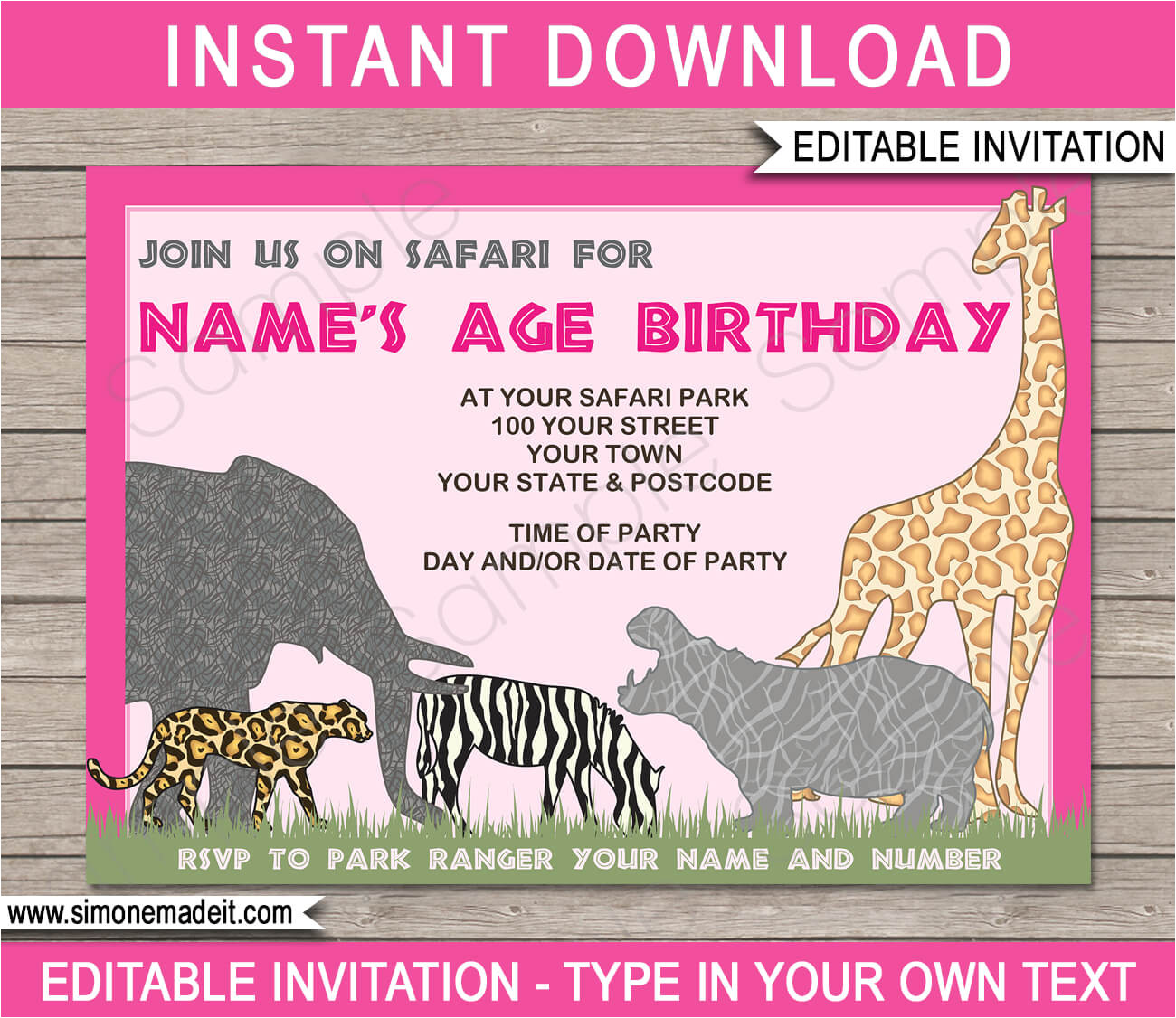 animal safari zoo party invitations pink