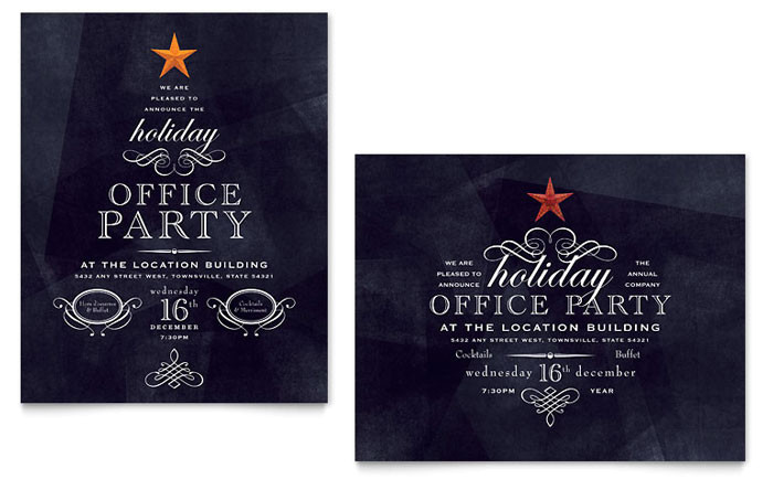 office holiday party poster template design xx1020601