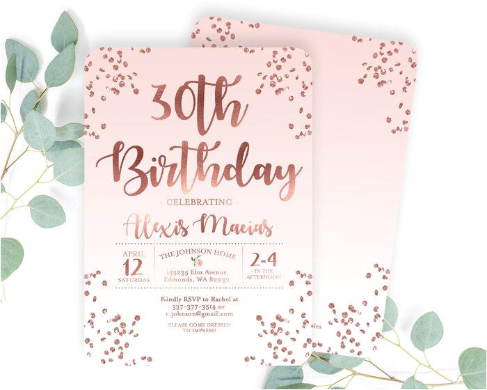 30th birthday invitation rose gold glitter confetti blush pink any age adult birthday invite adult birthday invitation any color