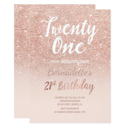 faux rose gold glitter ombre 21st birthday invitation 256844898021271934