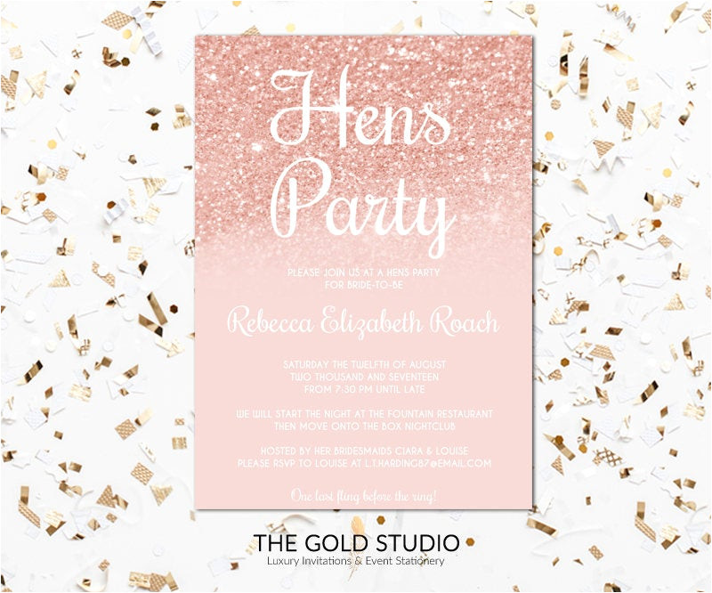 hens party invitation rose gold hens