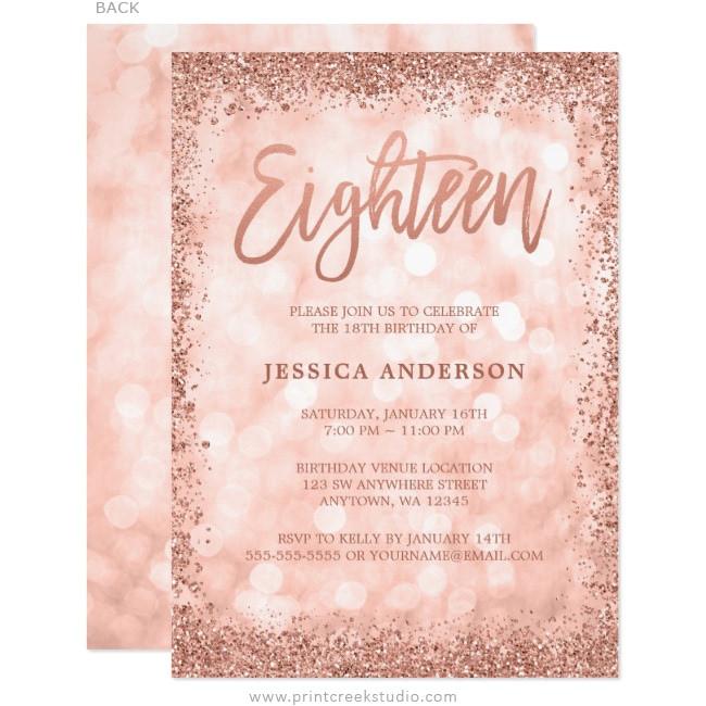 rose gold faux glitter lights 18th birthday invitations