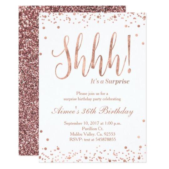 rose gold birthday celebration invitation 256381594058681685