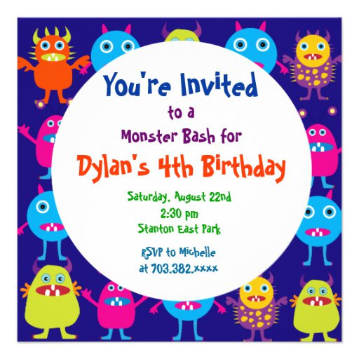 cute monster birthday party invitation templates 161625951870558094