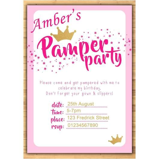 pamper party birthday invitations