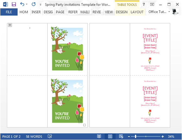 spring party invitations template for word