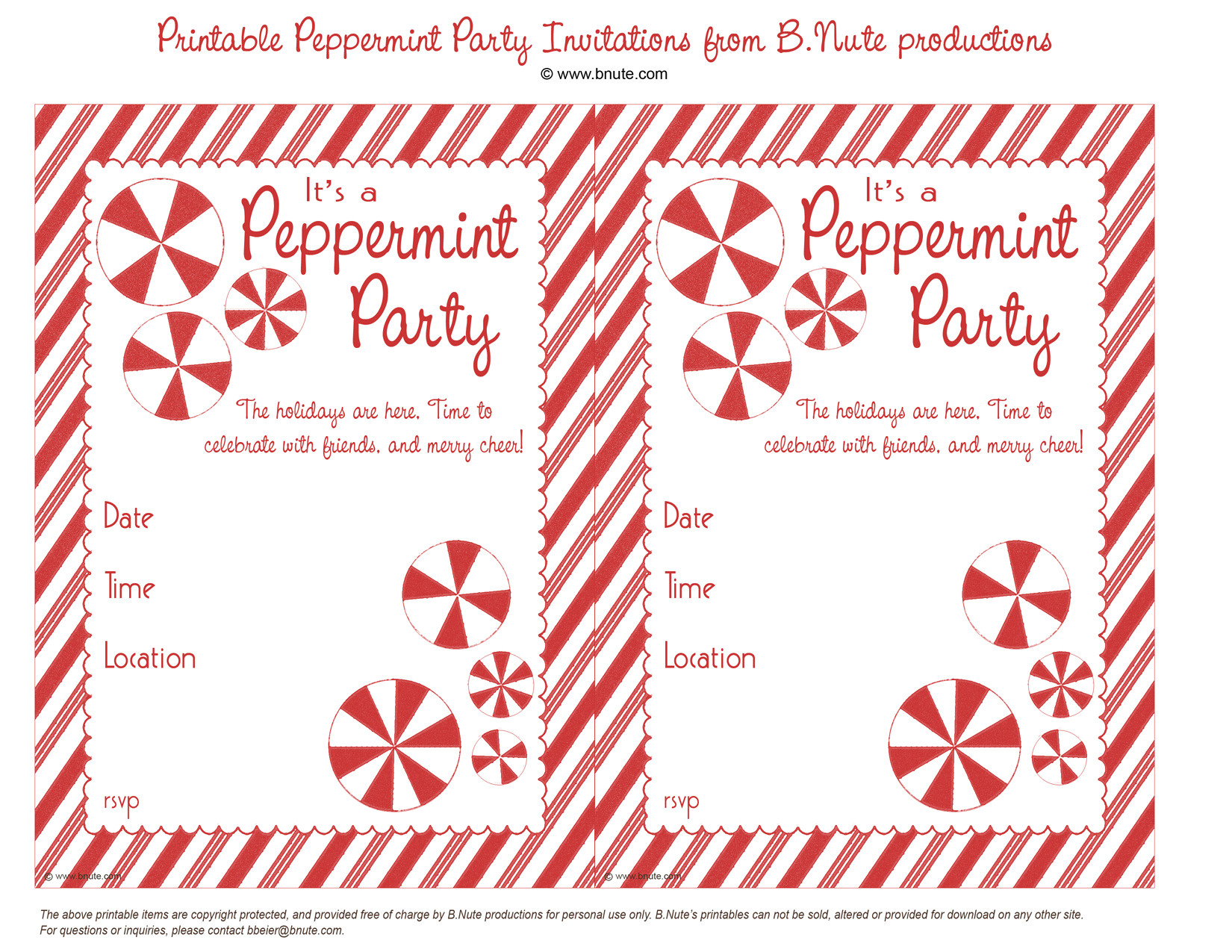 free printable peppermint party