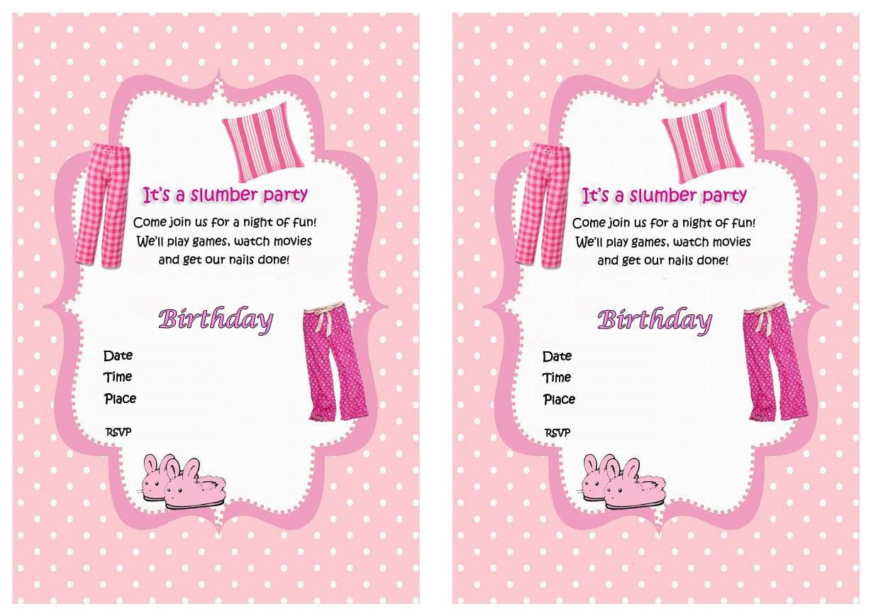 free printable birthday sleepover invitations