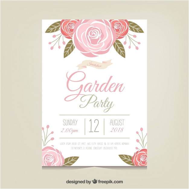 garden party invitation template with beautiful flowers 1668707