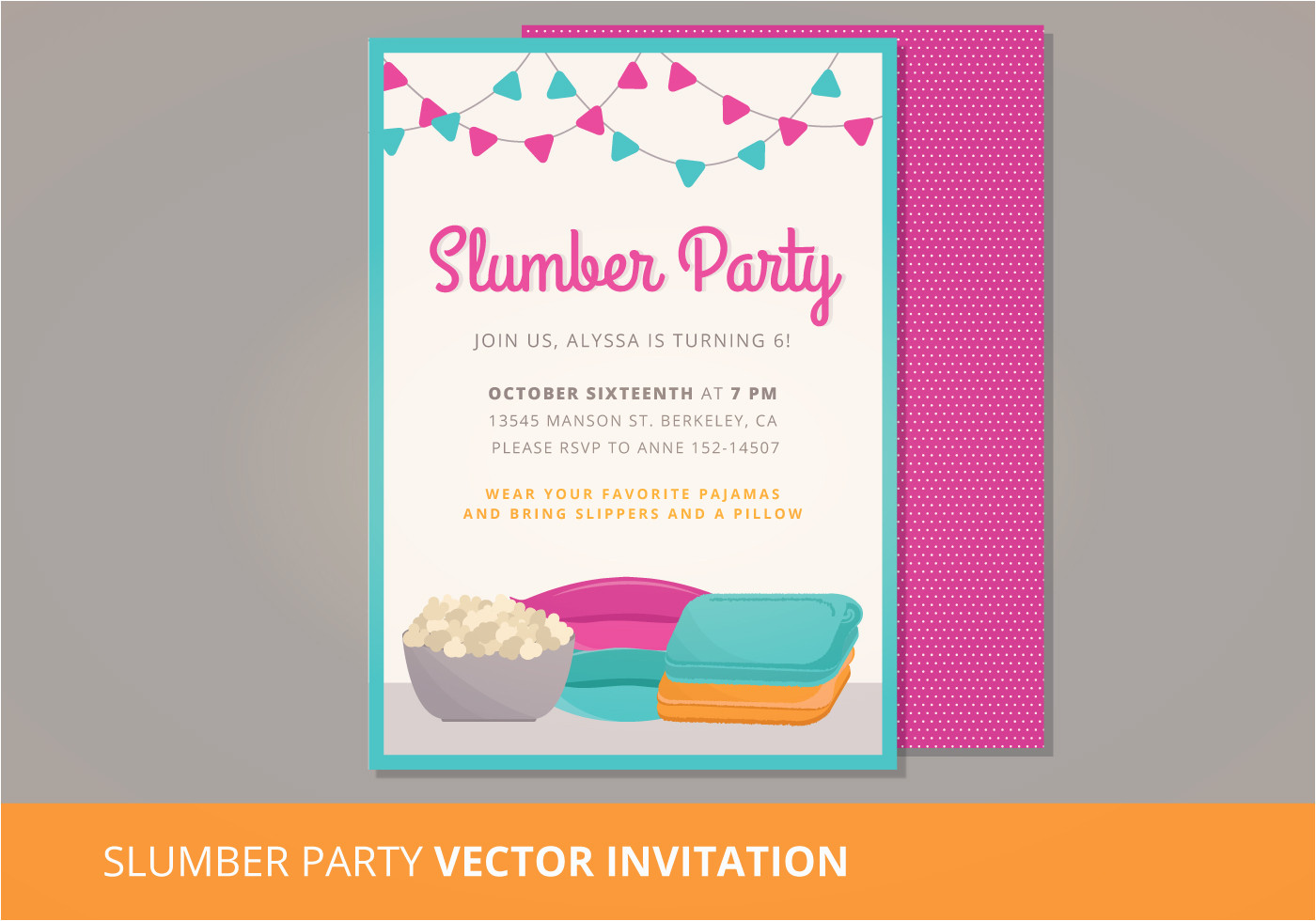 97486 slumber party vector invitation