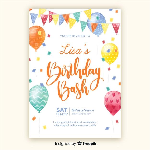 watercolor style birthday invitation template 5239208
