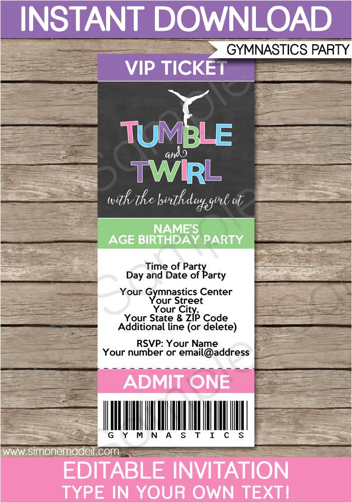gymnastics party ticket invitations printable