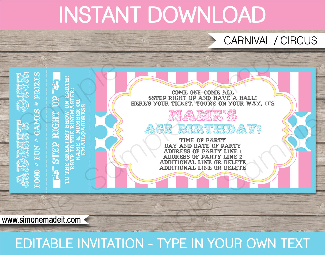 pink circus party ticket invitation