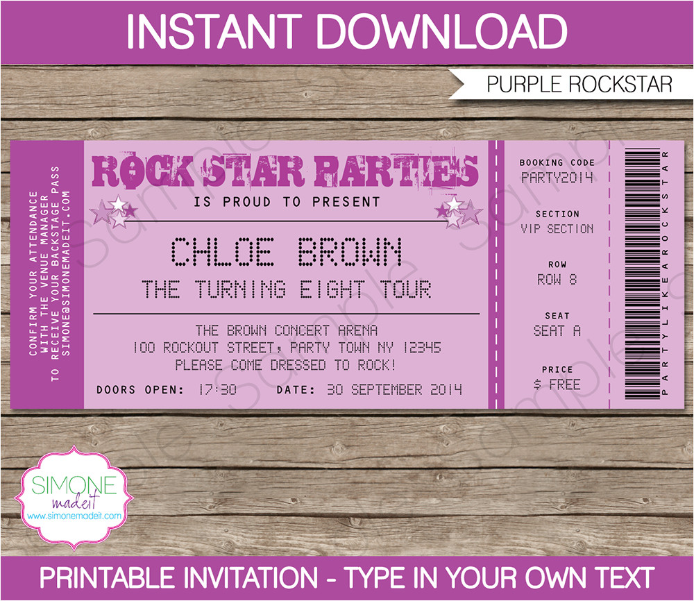 rockstar party ticket invitations purple birthday