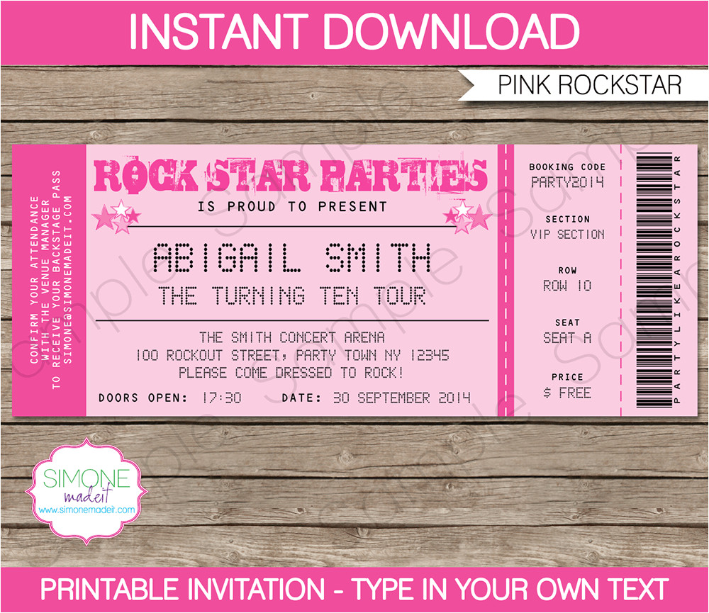 rockstar birthday party ticket invitations pink