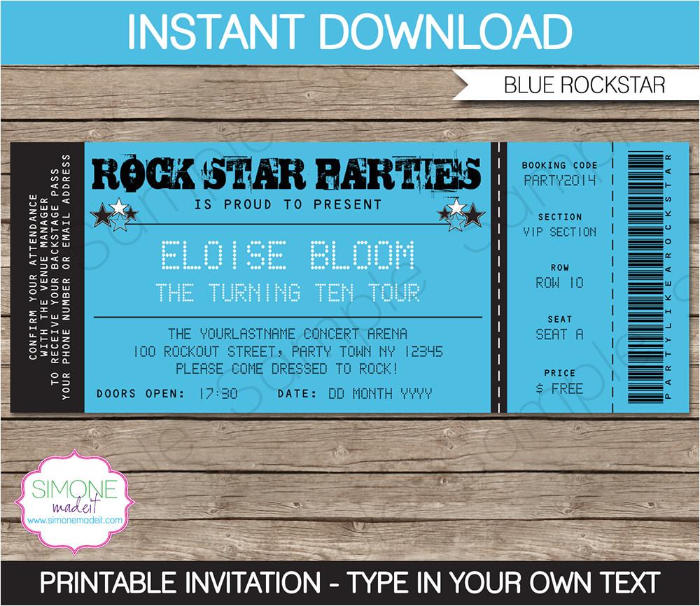 rockstar party ticket invitation blue